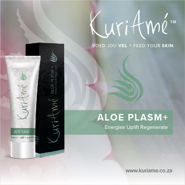 ALOE PLASM + * Energise * Uplift * Regenerate * Aloe Plasm+ unlocks the anti-aging benefits of the KuriAmé skincare range and acts as a natural botulinum toxin or botox, which deeply infiltrates the layers of the skin and boosts the skin's ability to absorb anti-ageing actives. It contains extracts of Aloe Vera and penetrates deep into the skin to draw the remaining products deeper for stronger results. Find out more about our amazing products here http://kuriame.co.za/en/products/