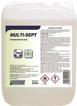 Multi-Sept se recomanda la dezinfectarea suprafetelor dupa curatare, respectiv la mentinerea starii de igiena corespunzatoare a suprafetelor in timpul lucrului.