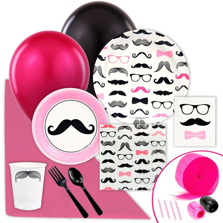 Pink Mustache Value Party Pack from BirthdayExpress.com