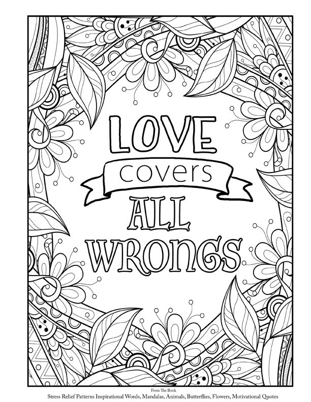 adult coloring book page inspirational and encouraging words and quotes plus animals mandalas. Black Bedroom Furniture Sets. Home Design Ideas