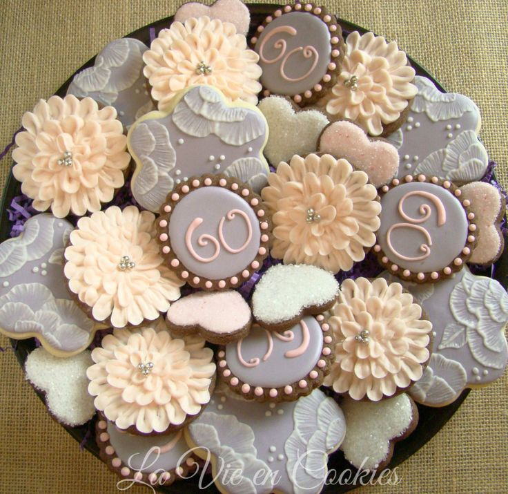 60th birthday floral cookie platter pastel shabby chic