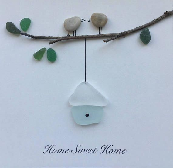 Handmade Cornish Beach Frame Size 10x10 Inch Glass Frame Wall Hung Or Freestanding This Piece Is Made To O Beach Glass Art Sea Glass Crafts Glass Art Pictures