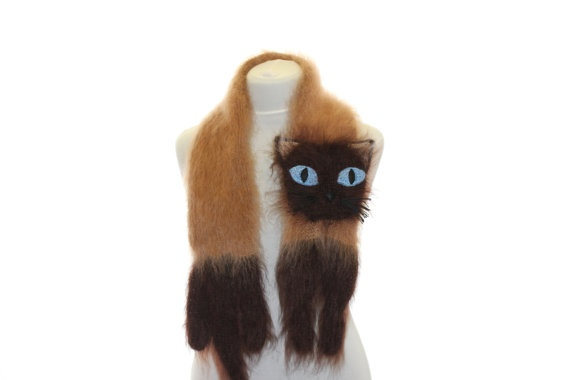 Knitted Scarf / Siamese cat / Fuzzy Soft Scarf / dark by TaniaSh, $57.00