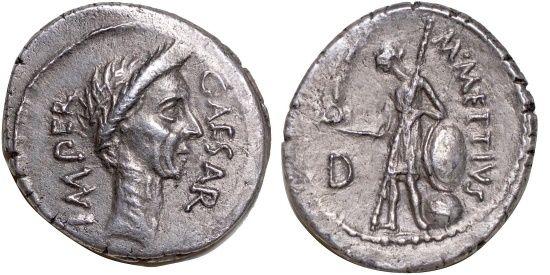 Ancient Coins - M. Mettius &  Julius Caesar. Portrait denarius. 100-44 B.C  Nearly Extremely Fine.