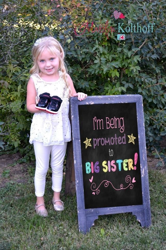 Sibling daughter child Maternity pregnancy announcement Big – Big Sister Birth Announcement
