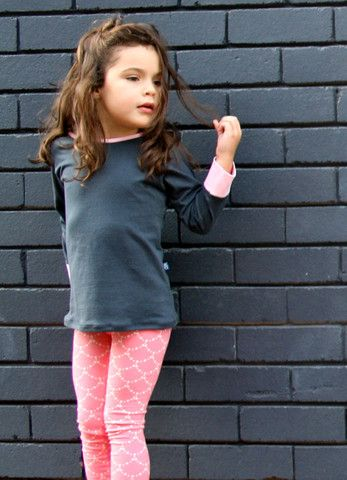 'Charcoal & Pink' organic cotton long sleeve tee – Little Emperor