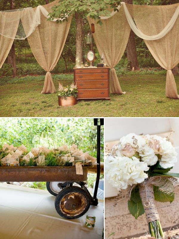 Here's something to think about Kaleigh:): Fabrics Ideas, Burlap Backdrop, Wedding Ideas, Unique Rustic, Rustic Weddings, Old Wagon, Burlap Curtains, Rustic Ideas, Burlap Draping