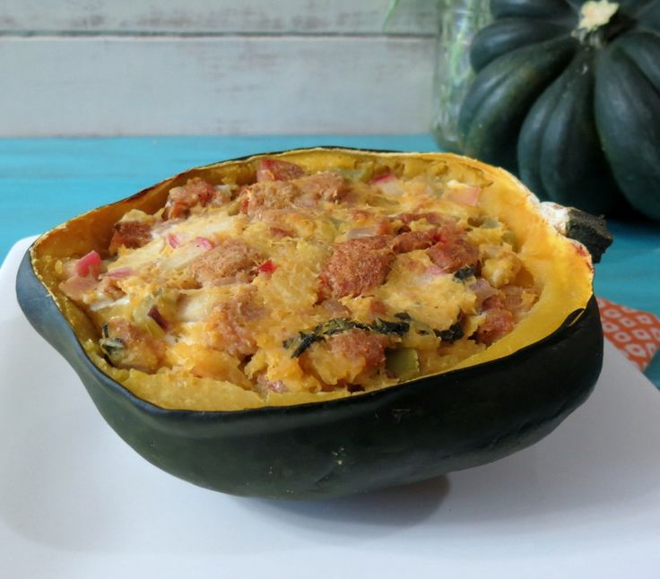 Baked Acorn Squash with Apple and Sausage Stuffing (Sub Mushroom for sausage)