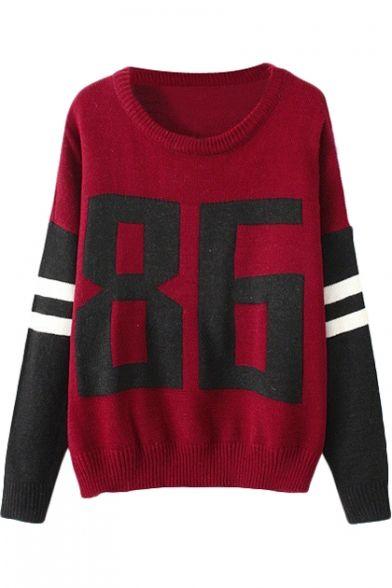 86 Print Color Block Round Neck Stripe Print Sleeve Sweater