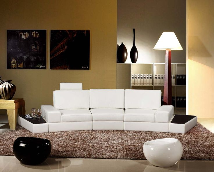 This Versatile Leather Sofa Has Handy End Tables Attached At Both Sides Of Couch A Retractable Head Rest Provides The Touch Comfort To Already