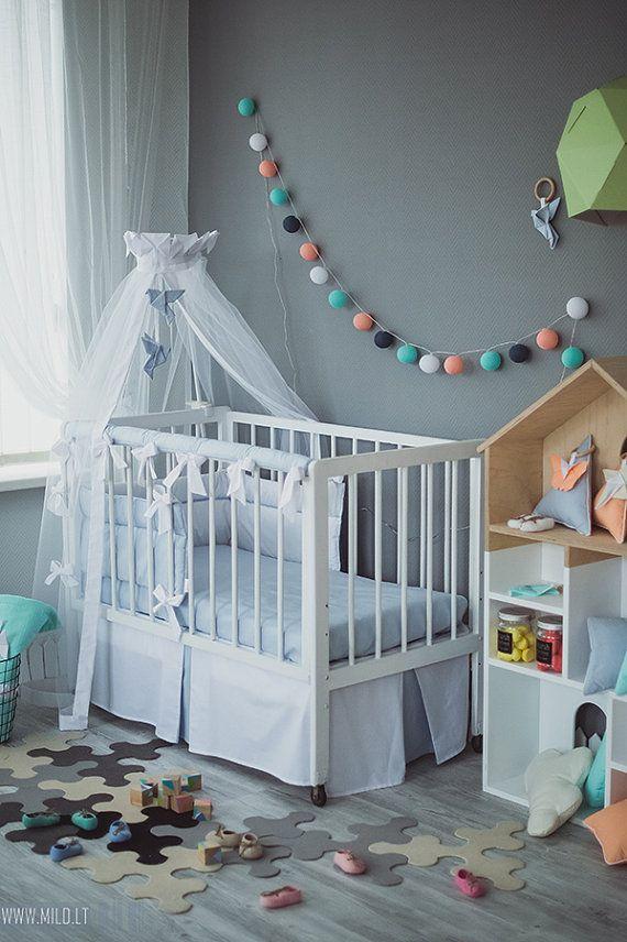 Crib canopy bed crown Origami Grey Crane - Neutral nursery grey white