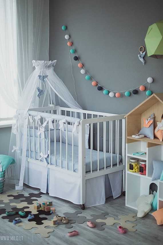 Crib canopy bed crown Origami Grey Crane - Neutral nursery grey white