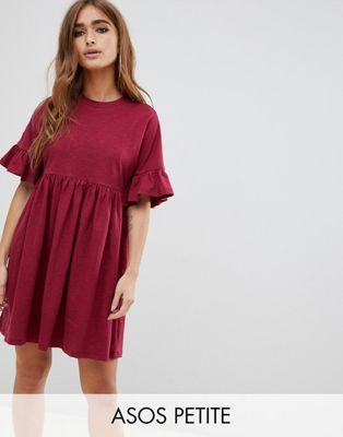 4e2920871852 ASOS DESIGN Petite cotton slubby frill sleeve smock dress