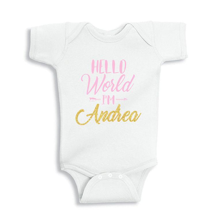 HELLO World I'm Personalized Baby Bodysuit by bodysuitsbynany on Etsy