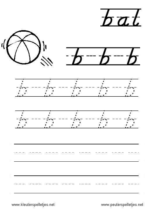 letterwerkblad printen, letter B