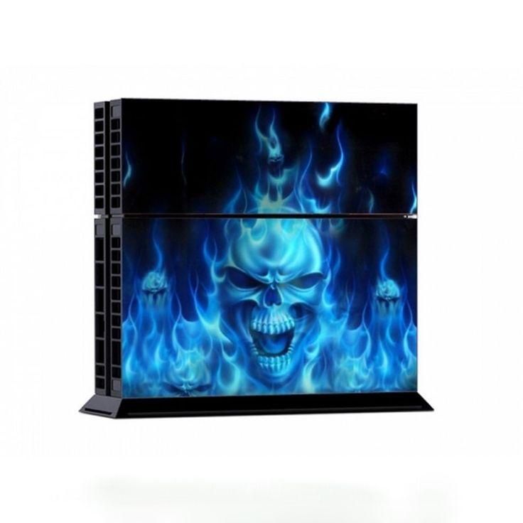 Холодный Синий Череп консоли Стикер Игры Наклейку Кожи 2 Контроллера Сцепление крышка Защитный Чехол Для Sony ps4 Playstation 4 Всего Тела