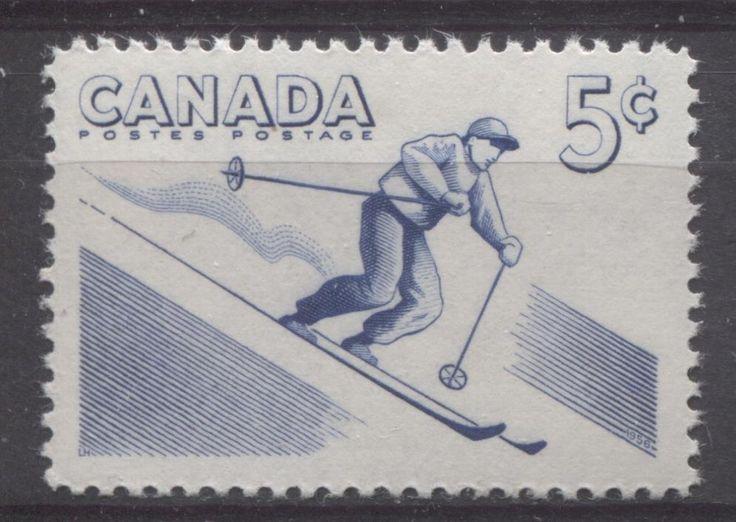Canada #368 5c Blue 1957 Skiing VF 75/80 NH