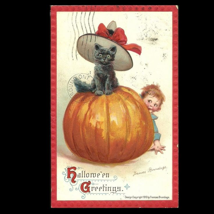 Cute Brundage Halloween Postcard With Black Cat In Witches Hat Atop Pumpkin at Tannery Creek Antiques.