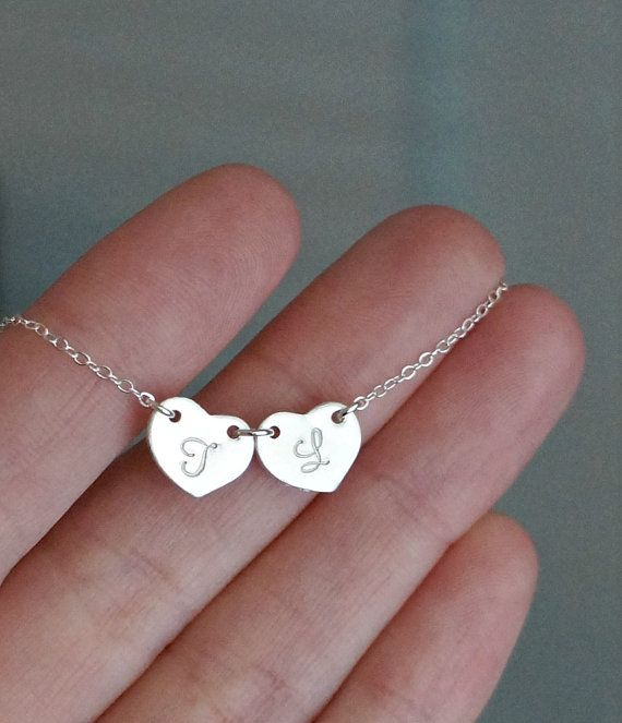 Two Silver Hearts Necklace with Initials / Connected Hearts Pendant on Chain • gift for her • gradutaion gift • best friends sisters bff