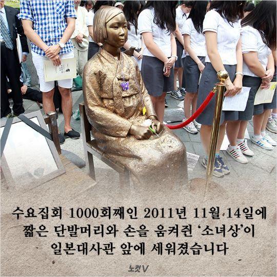 수요집회 1000회째인 2011년 11월 14일에 짧은 단발머리와 손을 움켜쥔 '소녀상'이 일본대사관 앞에 세워졌습니다.