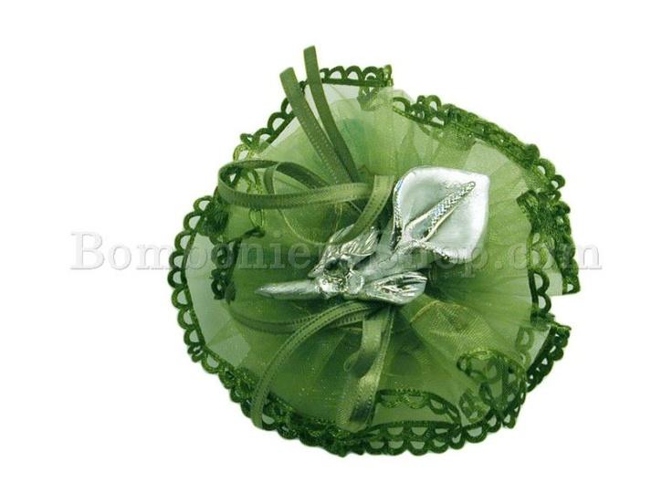 Favoloso sacchettino in organza con applicazione di una calla in porcellana argentata!!!