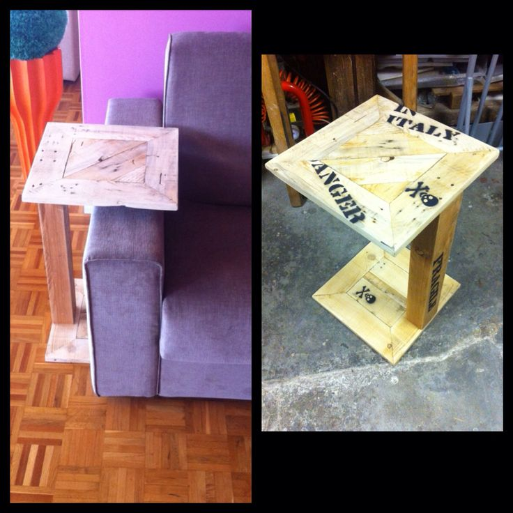 Tavolino porta telecomando da sistemare a fianco del divano, costruito con legno ricavato da vecchi pallet