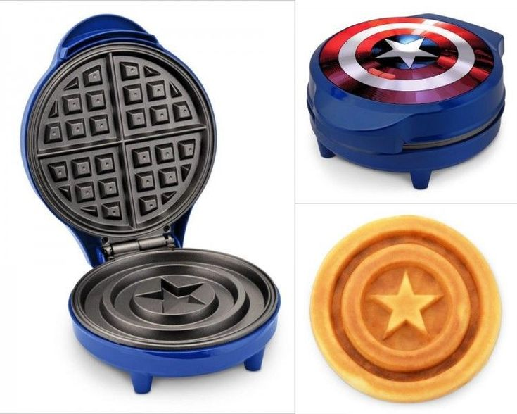 Nonstick Waffle Maker Captain America Shield Belgian Kitchen Breakfast Cooking #NonstickWaffleMaker