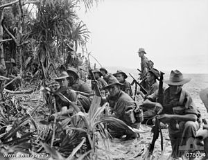 The Aitape–Wewak campaign was one of the final campaigns of the Pacific Theatre of World War II. Between November 1944 and the end of the war in August 1945, the Australian 6th Division, with air and naval support, fought the Imperial Japanese 18th Army in northern New Guinea. Considered a 'mopping up' operation by the Australians, and although ultimately successful for them with the Japanese forces cleared from the coastal areas and driven inland,