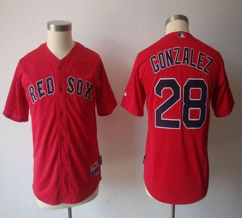 Red Sox #28 Adrian Gonzalez Red Cool Base Stitched Youth Baseball Jersey