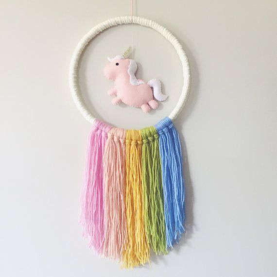 Wool Macrame Felt Baby Mobile or Wall by madebyclairelouise