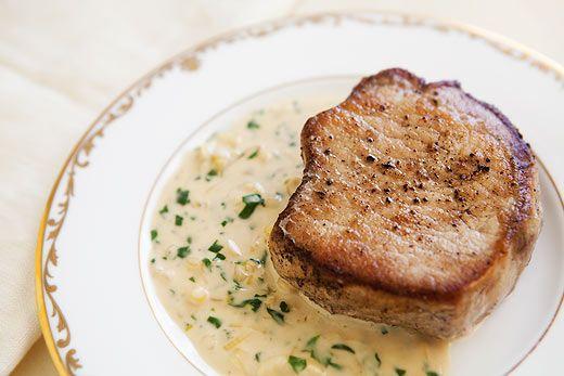 Pork chops: Pork Recipes, Sauces Recipelook, Porkchops, Dijon Sauces, Chops Recipes, White Wine, Cream Sauces, Sauces Recipes, Pork Chops