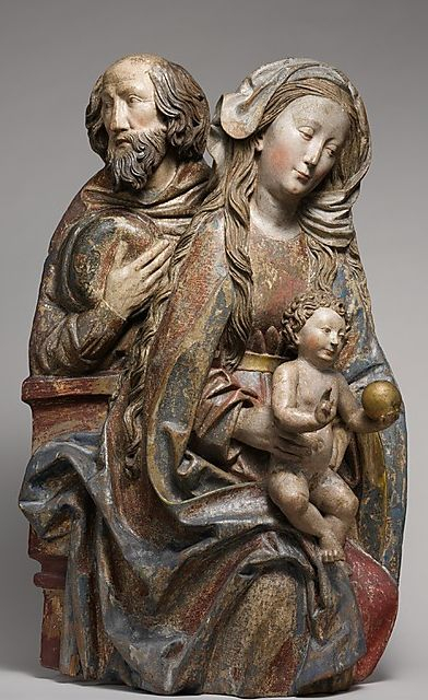 South German Sculpture by Niclaus Weckmann (1481-1528), ca 1500, Holy Family, Limewood with traces of paint and gilding.