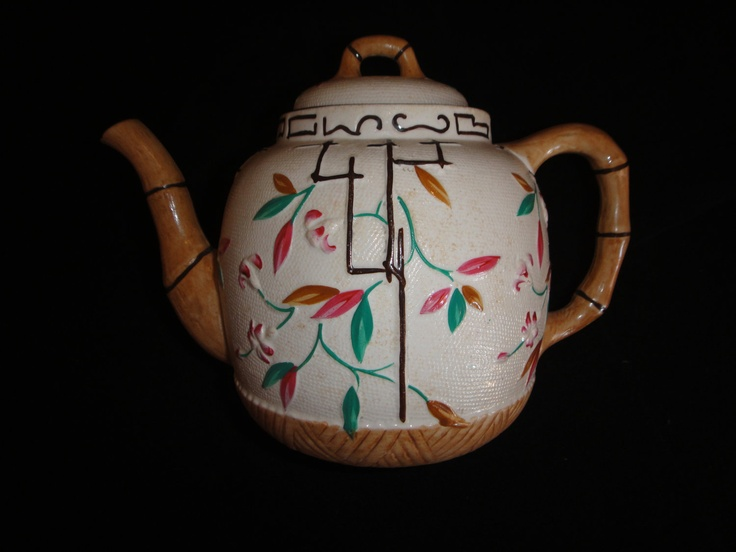 "Antique Teapot  English ""Bamboo and Trellis"" Brownhills Pottery Co.. $200.00, via Etsy.Browhil Pottery Mi, Majolica, Trellis, Teapots English, English Bamboo, Brownhil Pottery, Interesting Teapots, Antiques Teapot"