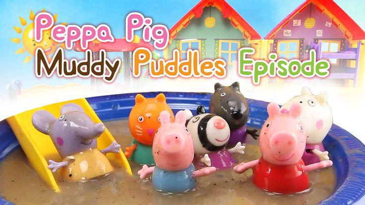 HD Peppa Pig Muddy Puddles Episode Sliding Fun Play Toy Videos fangoso C...