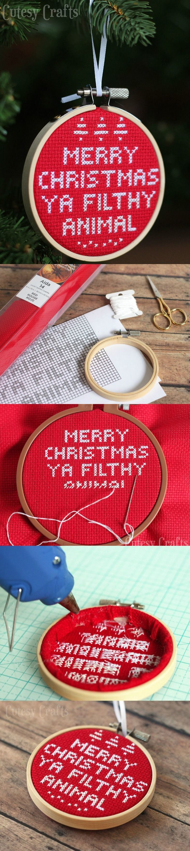 Cross Stitch Diy Christmas Ornament Christmas Vacationchristmas