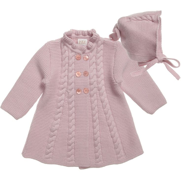 Paz Rodriguez Baby Girls Pink Pram Coat and Bonnet