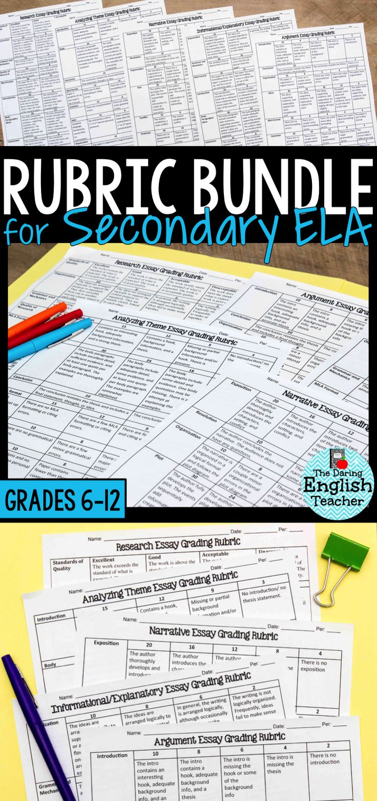17 best ideas about ela high school middle school this rubric bundle for secondary ela contains five different rubrics for different middle school and high