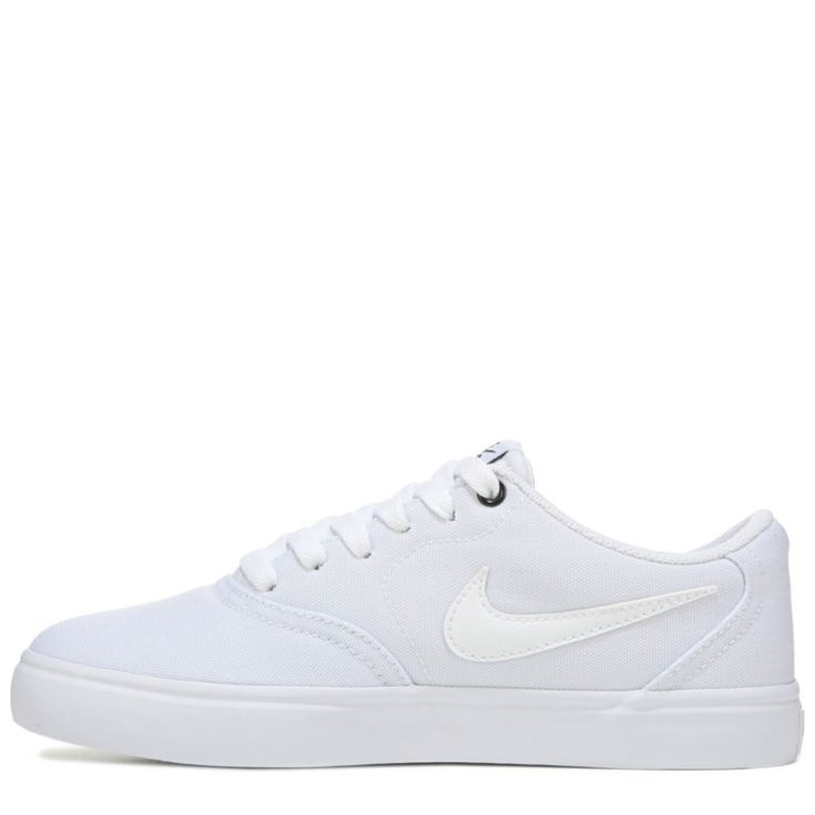 Nike Women's Nike SB Check Solar Canvas Skate Shoes (White/White) - 10.0 M