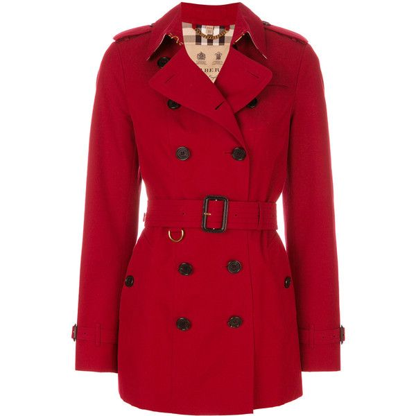 Burberry The Sandringham trench coat ($2,010) ❤ liked on Polyvore featuring outerwear, coats, red, double-breasted trench coat, red trenchcoat, double-breasted coats, long sleeve coat and burberry