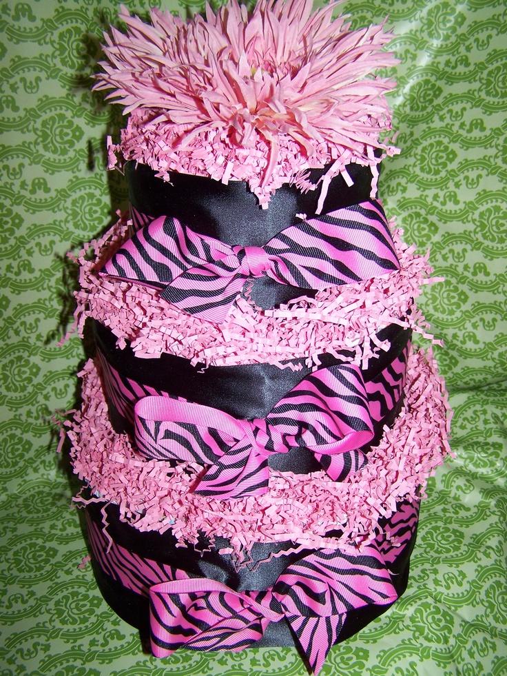 Pink Zebra Diaper Cake  www.cakeistry.ca