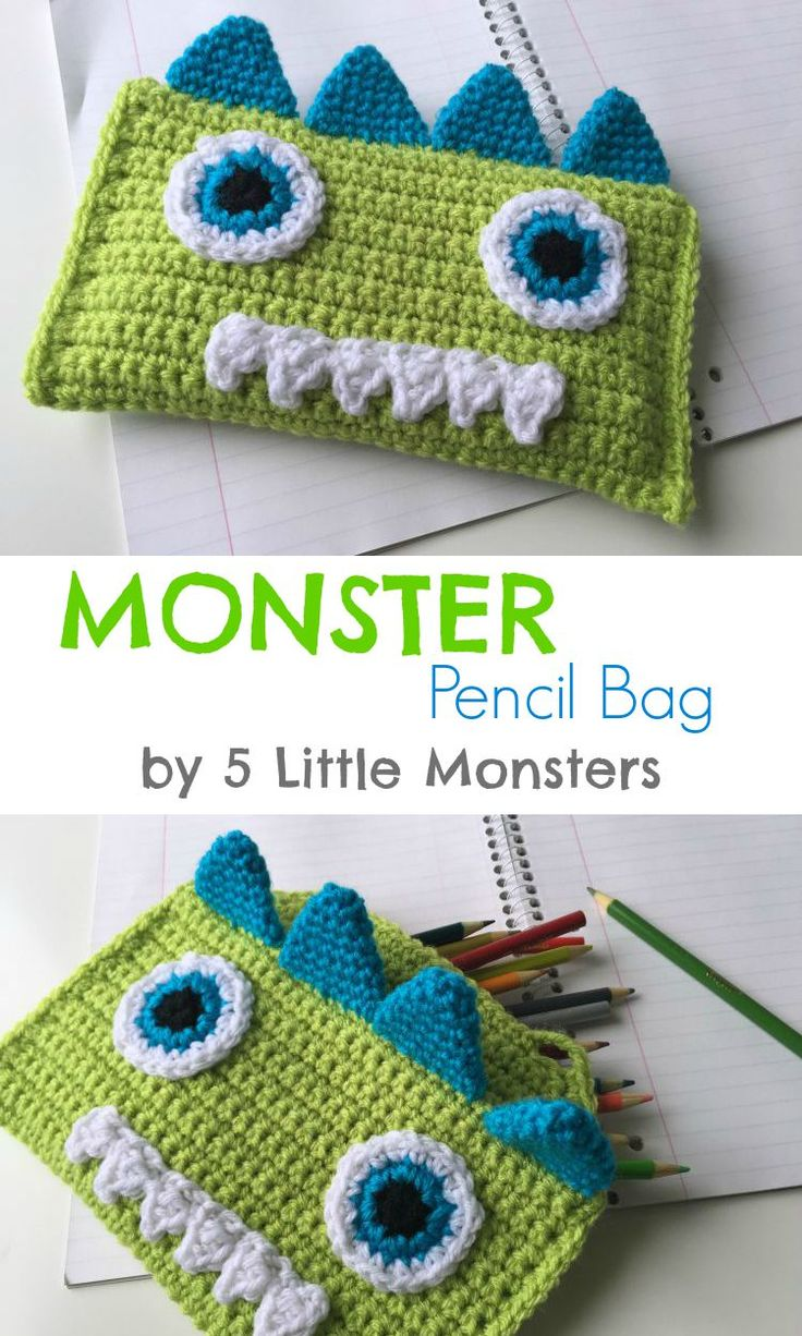 5 Little Monsters  Crocheted Monster Pencil Bag Free Pattern