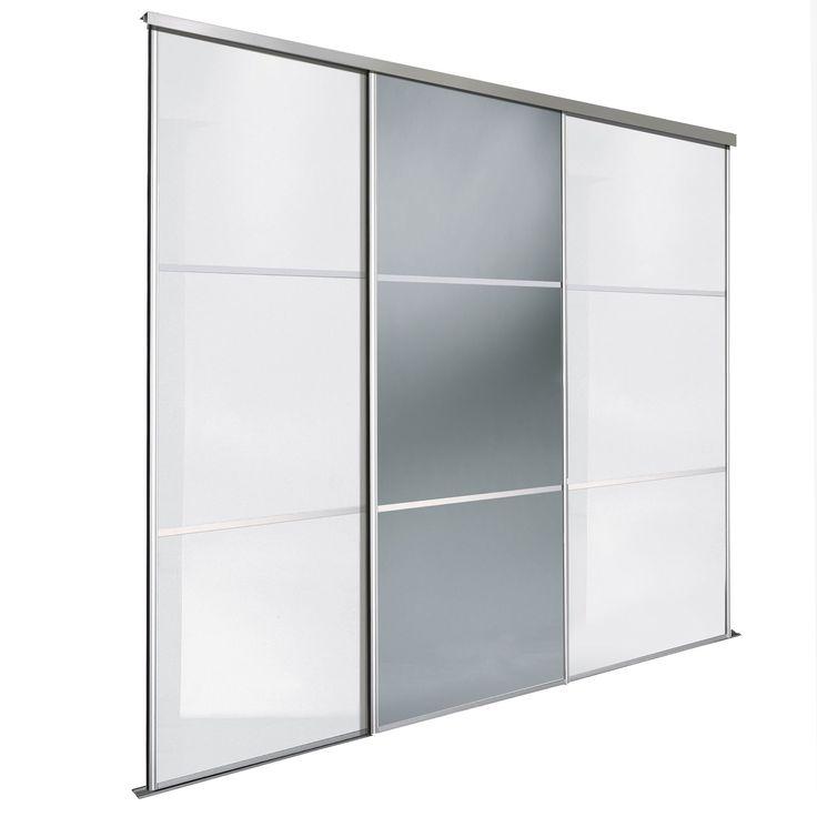 Premium select white smoked grey mirror sliding wardrobe for B q bedrooms sliding wardrobe doors