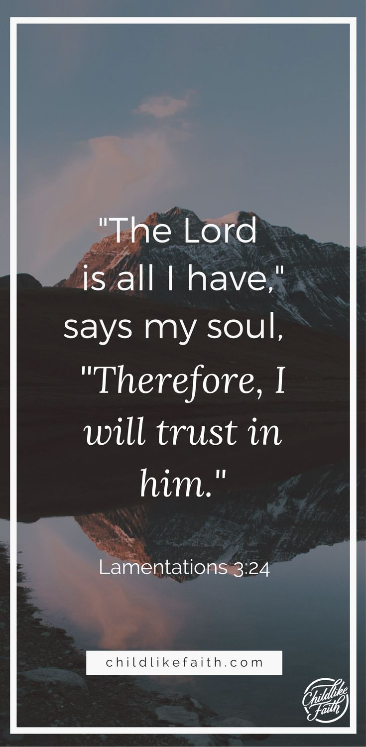 """""""I say to myself, 'The Lord is my inheritance; therefore, I will hope in him!' The Lord is good to those who depend on him, to those who search for him. So it is good to wait quietly for salvation from the Lord."""" Lamentations 3:24-26 NLT http://bible.com/116/lam.3.24-26.NLT"""