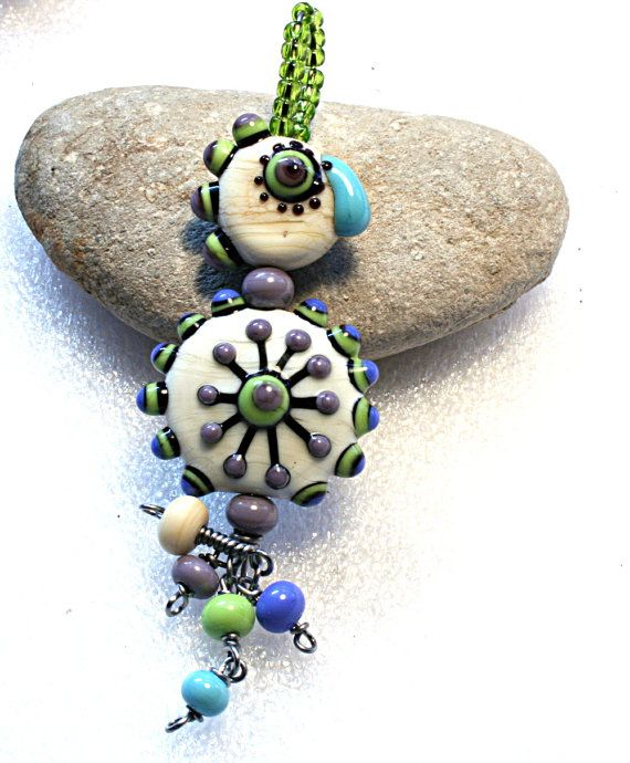 lampwork beads set by on etsy