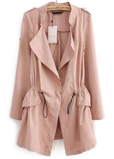 wholesale Pocket Design Long Sleeve Trench Coat