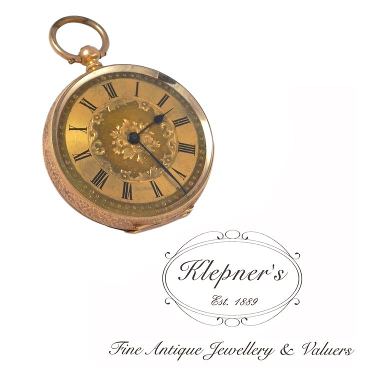 14ct yellow gold ornate antique Late Victorian engraved, open-face, key wind pocket watch. Featuring an elaborate decorative gold face & metallic blue-black hands, Swiss made circa 1880s. Visit us at www.klepners.com.au