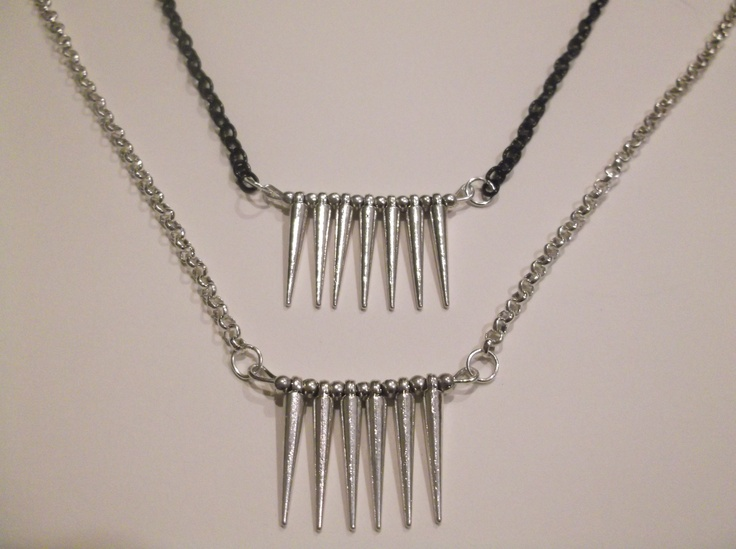 Metal Silver Small Straight Spike Necklace  please state if you would like a black or silver chain.  Length-49cm  Price- $20  Contact- kendal.halloran@gmail.com