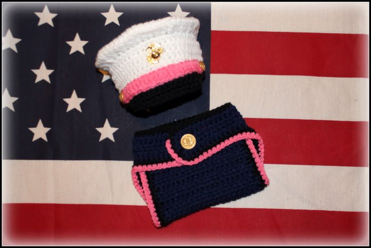 Crochet Marine Corps set, Marine baby, girl Marine, photo prop, baby shower, christmas gift, homecoming, military set, Marines girl gift set by TheJellyBoutique on Etsy https://www.etsy.com/listing/174292869/crochet-marine-corps-set-marine-baby