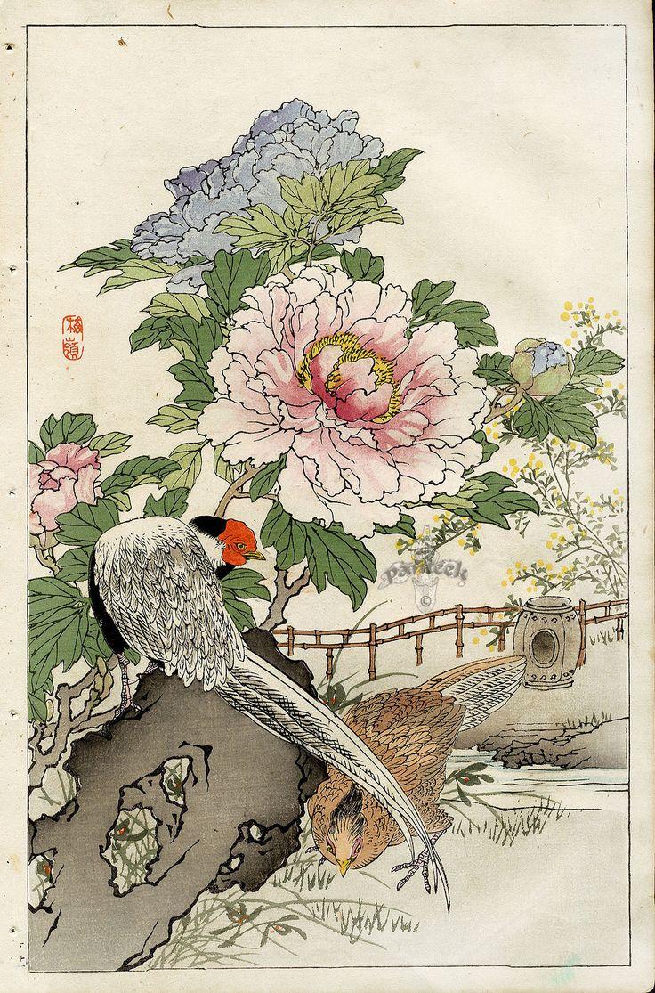 Японские антикварные открытки, корзины цветами открытки