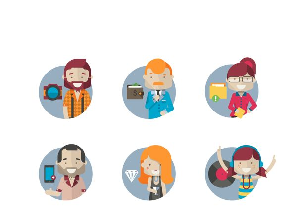 Flat hipster characters by Robert Filip, via Behance